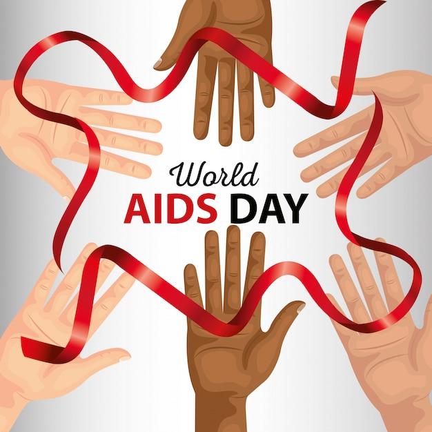 Día mundial del sida con bandera de mano y cinta Vector Premium