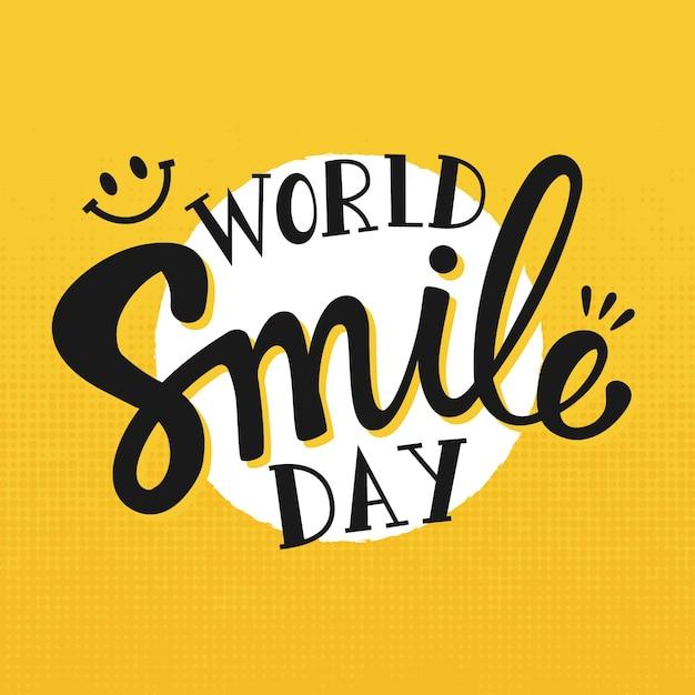 Día mundial de la sonrisa - letras vector gratuito