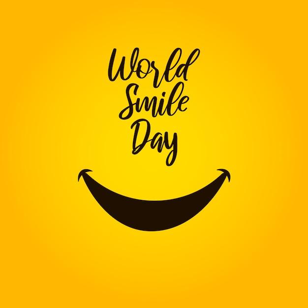 Día mundial de la sonrisa sobre fondo amarillo. Vector Premium