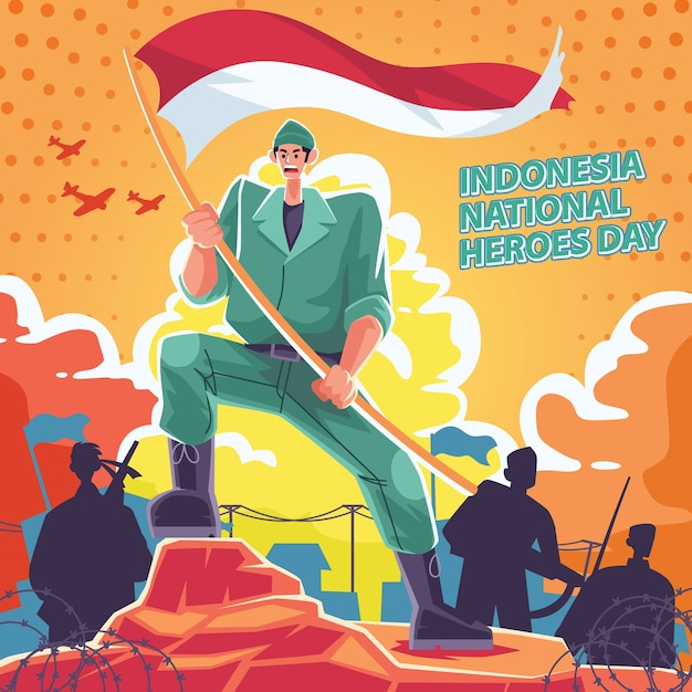Día nacional del héroe, hombre con bandera blanca y roja y estilo retro comic Vector Premium