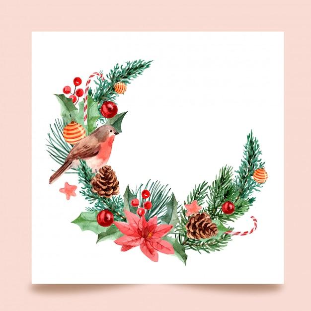 Día de navidad, pintura de acuarela para tarjetas de felicitación, postales, carteles Vector Premium