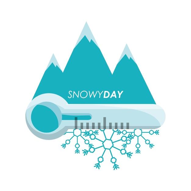 Día nevado y termómetro del clima y clima tema Vector Premium