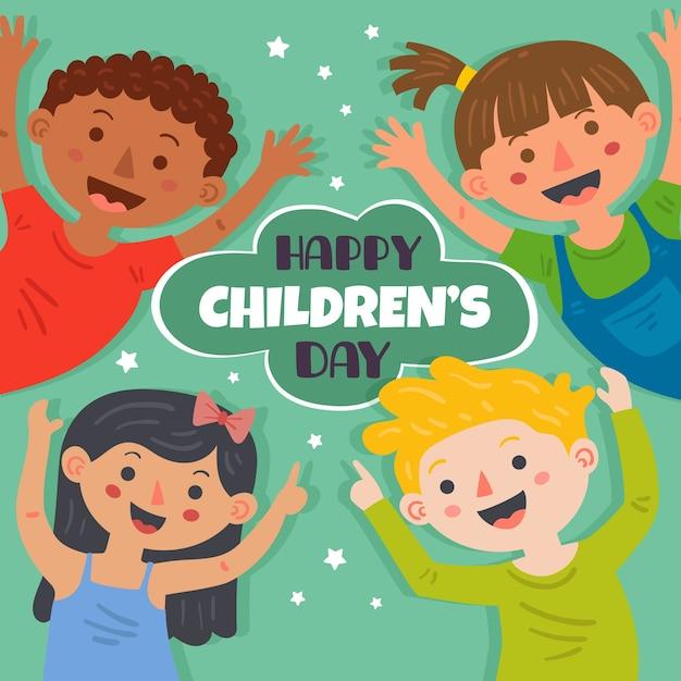 Día del niño en diseño plano. vector gratuito
