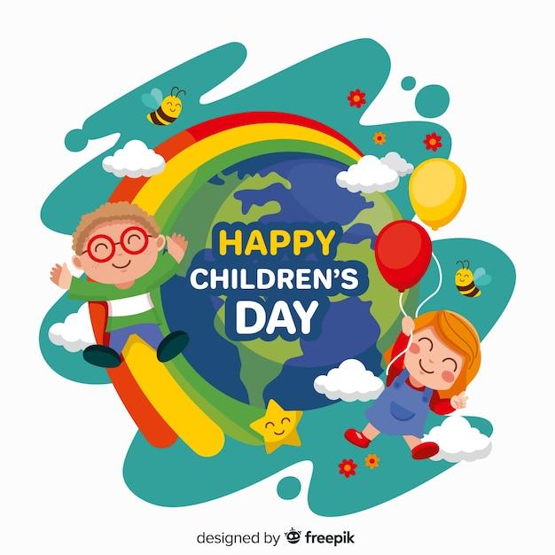 Día del niño plano con niños y planeta tierra vector gratuito