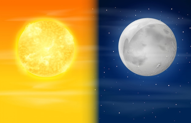 Día Y Noche En El Cielo Descargar Vectores Premium