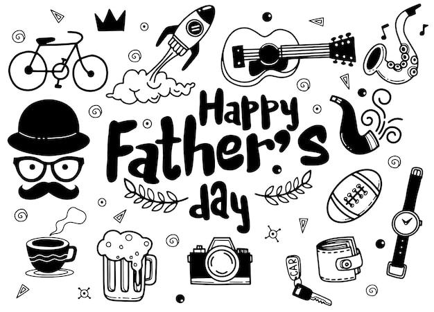 Dia del padre. colección de dibujos a mano de accesorios masculinos en el fondo Vector Premium