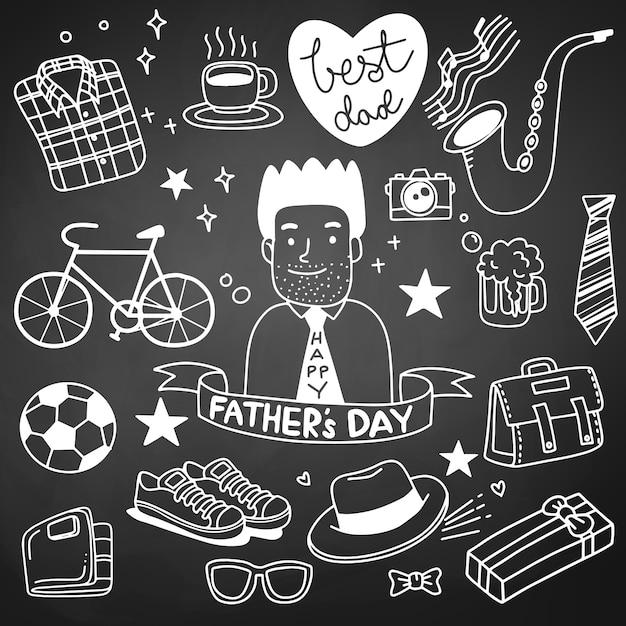 Dia del padre. colección de dibujos a mano de accesorios masculinos. Vector Premium