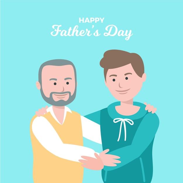 Día del padre en diseño plano vector gratuito