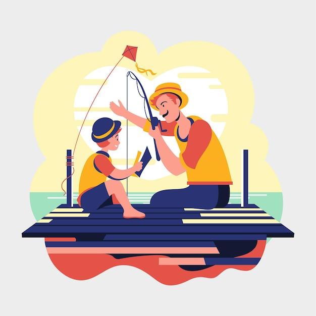 Día del padre padre e hijo pescando vector gratuito