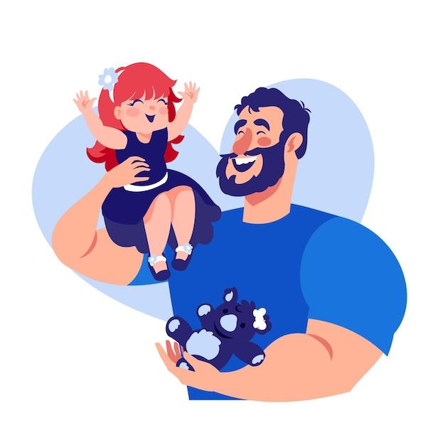 Día del padre con papá e hija. vector gratuito