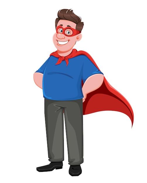 Dia del padre. papá guapo en traje de superhéroe Vector Premium