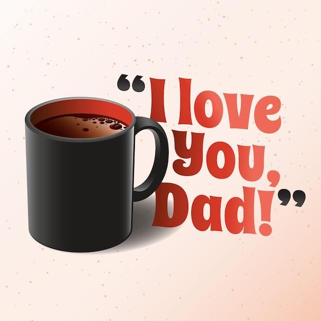 Día del padre realista con taza Vector Premium
