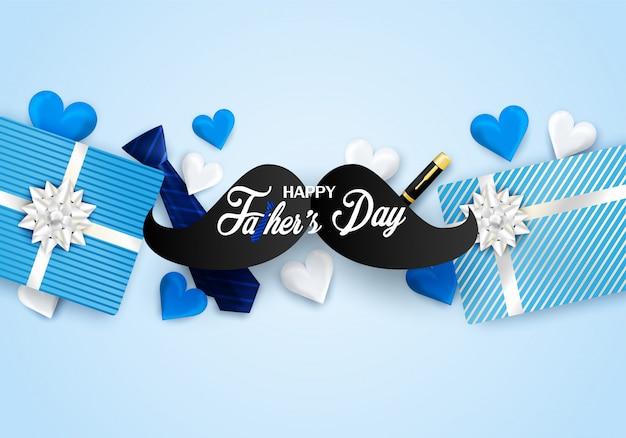 Día de padres feliz con el corazón, corbata en fondo azul. Vector Premium