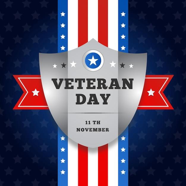 Día plano de los veteranos con bandera americana y escudo vector gratuito
