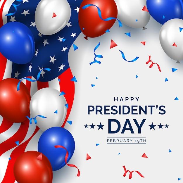 Día del presidente con adornos realistas vector gratuito