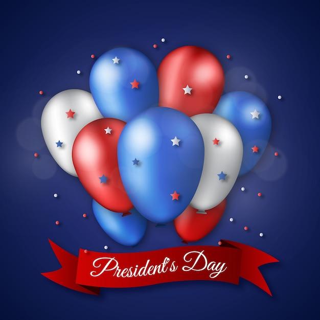 Día del presidente con globos y estrellas realistas. vector gratuito