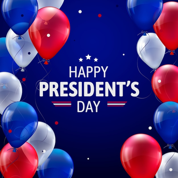Día del presidente con globos realistas vector gratuito