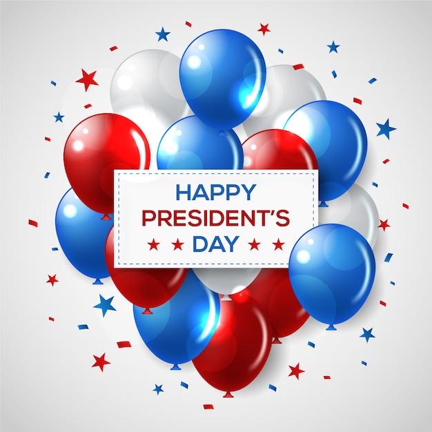 Día de presidentes con evento realista de globos vector gratuito