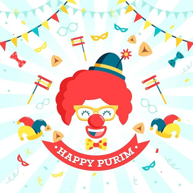 Día de purim de diseño plano con máscara de payaso sonriente y globos Vector Premium