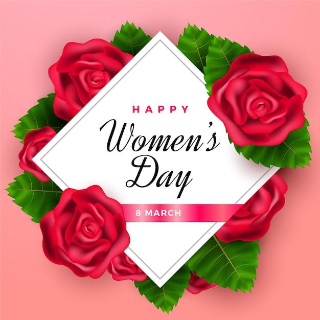 Día realista de la mujer con rosas. vector gratuito