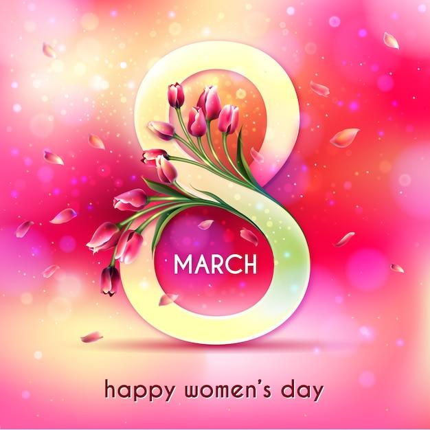 Día realista de la mujer con tulipanes. vector gratuito