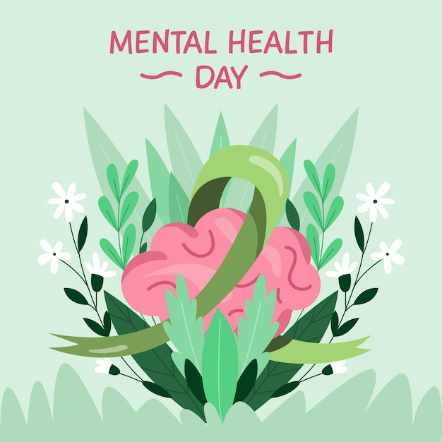 Día de la salud mental con cerebro y flores. vector gratuito