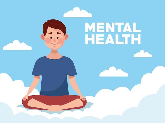 Día de la salud mental con el hombre practicando yoga en posición de loto Vector Premium