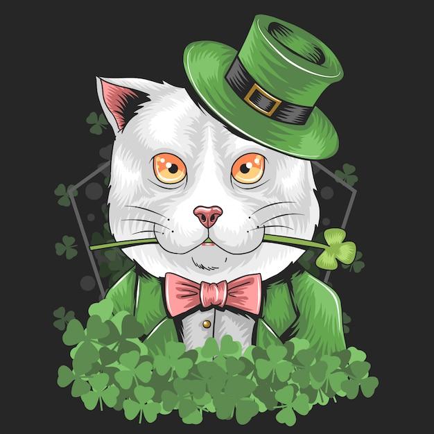 Día de san patricio shamrock cat vector Vector Premium