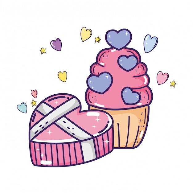 Día de san valentín amor dulce cupcake y regalo Vector Premium