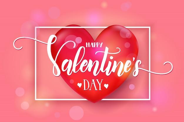 Día de san valentín con corazón rojo 3d y marco en rosa. bosquejo. feliz día de san valentín. Vector Premium