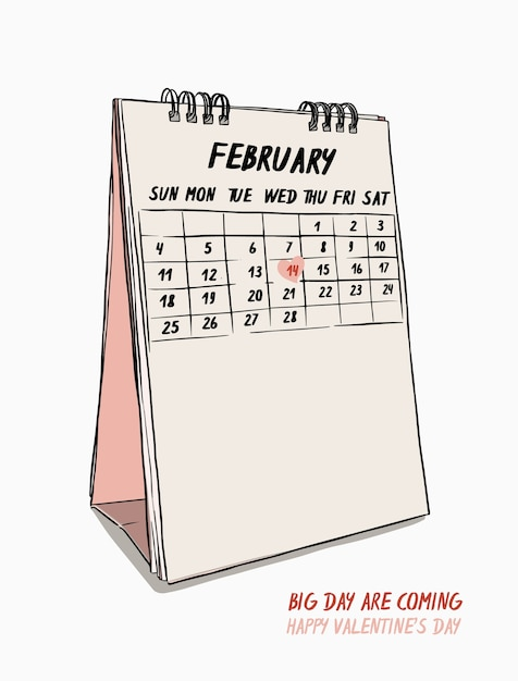 Día De San Valentín Dibujar A Mano El 14 De Febrero Calendario