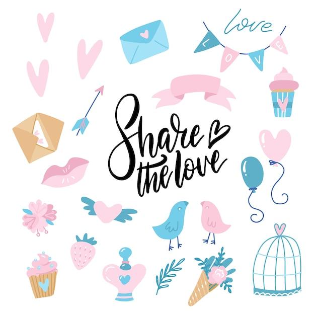 Día de san valentín doodle conjunto, objetos de concepto y diseño. corazón, cinta, globos, dulces, carta de amor Vector Premium