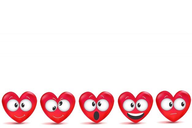 Día de san valentín con letras hechas a mano y corazones rojos 3d con trazo de pincel. Vector Premium