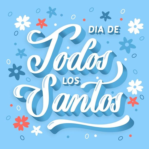 Día de todos los santos - lettering vector gratuito