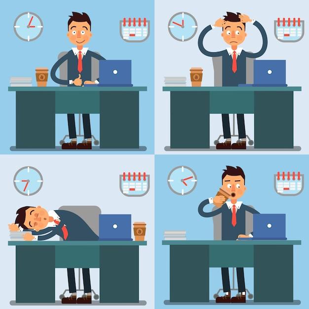 Día de trabajo del empresario. hombre de negocios en el trabajo vida de oficina. ilustración vectorial Vector Premium