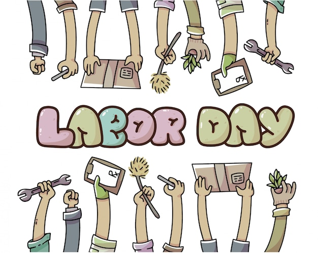 Día del trabajo manos de trabajadores ilustración Vector Premium