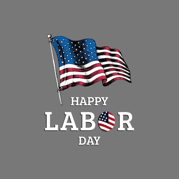 Día del trabajo, rotulación a mano. ilustración de la fiesta nacional americana con la bandera de estados unidos dibujada en estilo grabado. Vector Premium