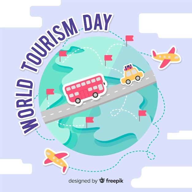 Día del turismo alrededor del mundo. vector gratuito