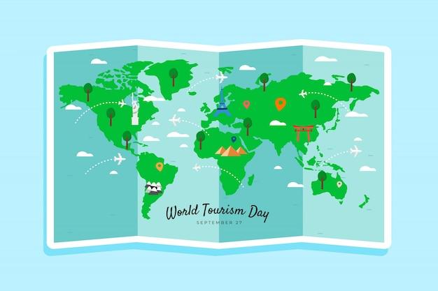 Día del turismo dibujado a mano con hitos vector gratuito