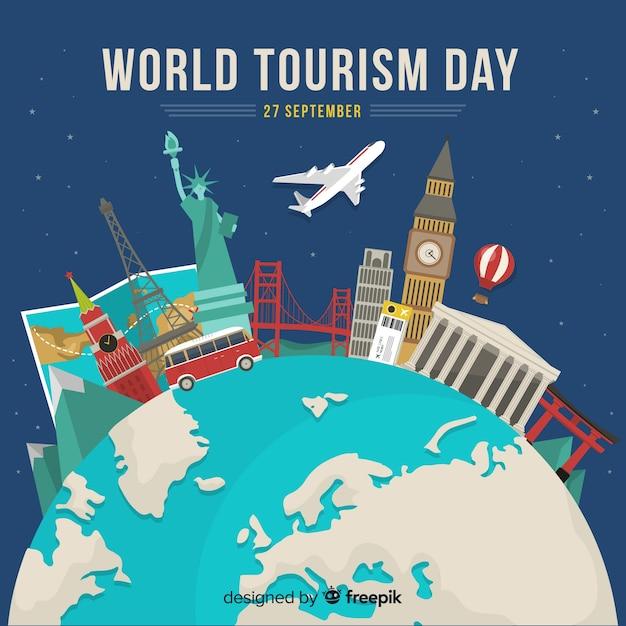 Día de turismo de diseño plano con hitos vector gratuito