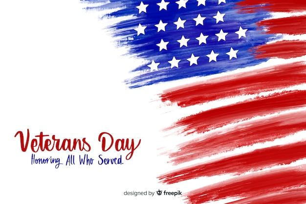 Día de los veteranos con bandera de acuarela vector gratuito