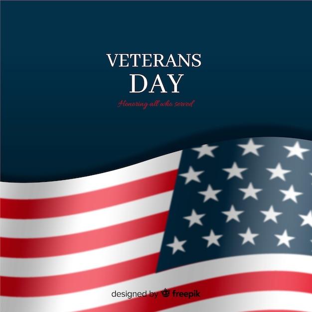 Día de los veteranos con bandera realista y fondo oscuro vector gratuito