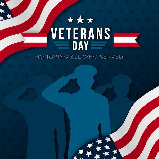 Día de los veteranos de diseño plano vector gratuito