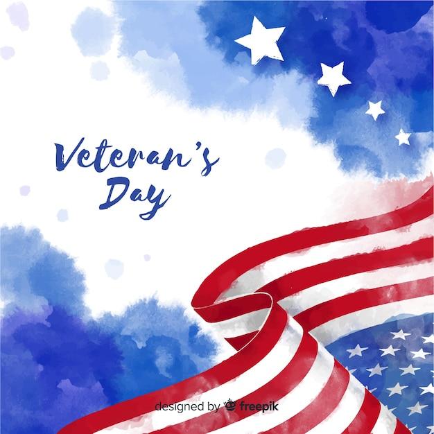 Día de los veteranos con fondo de bandera acuarela vector gratuito