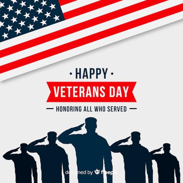Día de los veteranos de fondo de diseño plano Vector Premium
