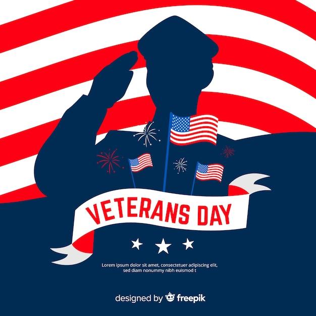 Día de los veteranos plana con silueta de soldado vector gratuito