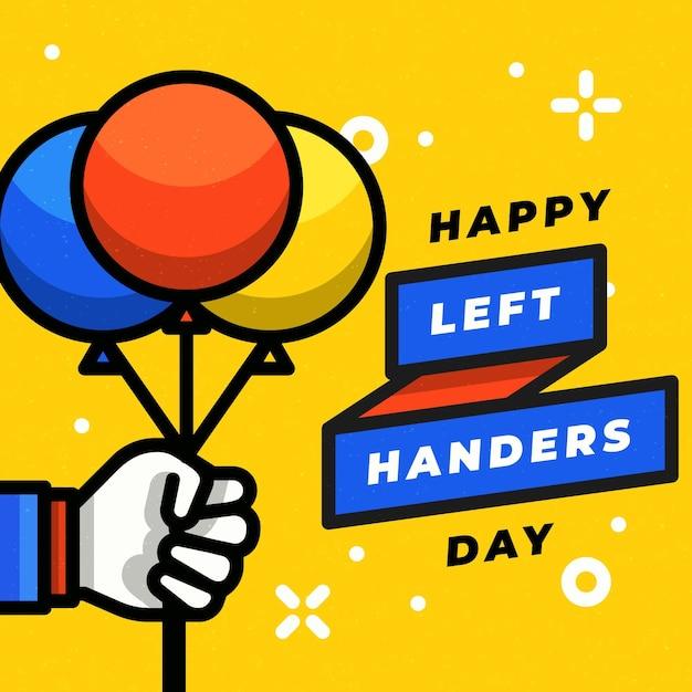 Día de zurdos con mano sujetando globos vector gratuito
