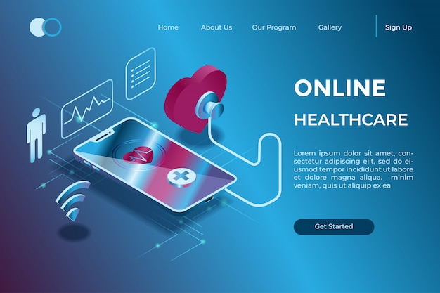 Diagnóstico en línea a través de un dispositivo con un símbolo de estetoscopio en la ilustración isométrica 3d Vector Premium