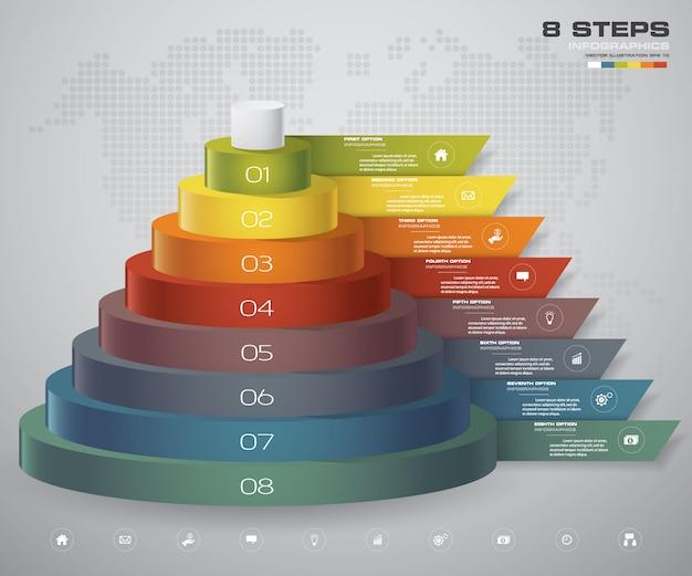 Diagrama de capas de 8 pasos Vector Premium