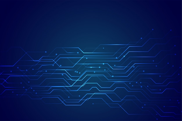 Diagrama de circuito de tecnología azul con luces de línea brillante vector gratuito